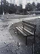 Lavička v dešti