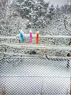 Sněží.