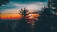 Zimní západ slunce na Lysé hoře