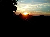 Koleje při západu slunce