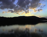 západ slnka, priahrada Čerenec, Vrbové