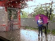 dievča. dážď.