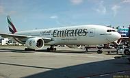 Boeing 777 Emirates na letišti Praha Ruzyně