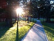 park při západu Slunce