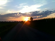 Cesta - západ slunce