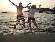 Synchronizovaný skok při západu slunce